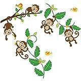 Monkeys Swinging on Vines Giant Peel & Stick Wall Art Sticker Decals