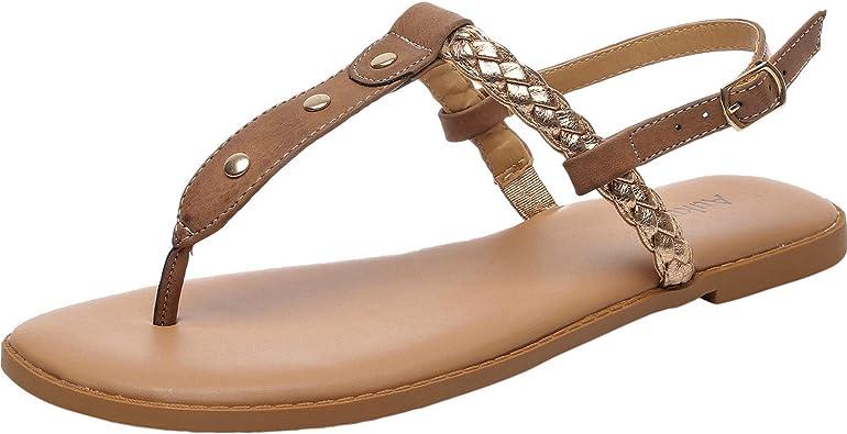 Aukusor Women's Wide Width Flat Sandals