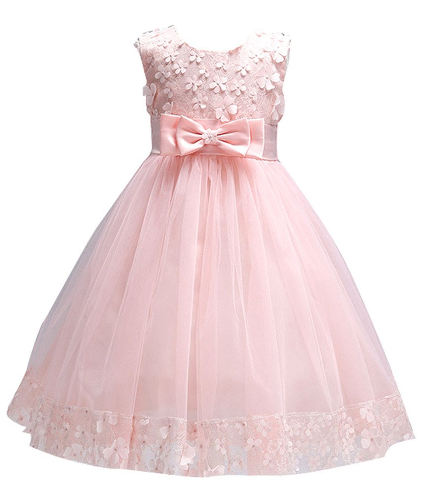 Big Girls First Communion Lace Dresses for Toddler Pageant Baby Sleeveless Flower Girl Dress Christmas Ball Gown for Weddings Sundress A Line Tank Vintage Pleated Skirt Knee Kids Tutu (Pink, 10)