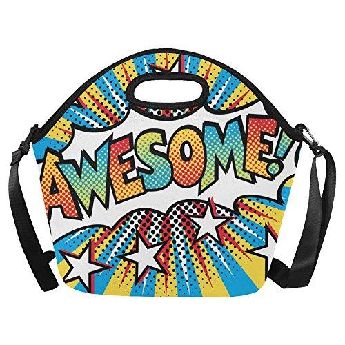 InterestPrint Neoprene Lunch Bag Pop Art Styled Cartoon Awesome Lunch Handbag Large (Handbag Large Styled)