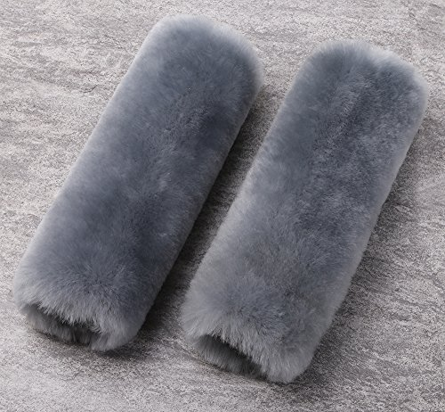 Real Wool (ocuS 2pcs Auto Seat Belt Shoulder Pad Soft High Densed Real Sheepskin Wool Car Seat Backpack Luggage Strap Cushion (Gray))