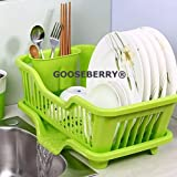 GOOSEBERRY® Great Kitchen Sink Dish Drainer Drying Rack Washing Holder Basket Organizer Tray - Color As Per Availability