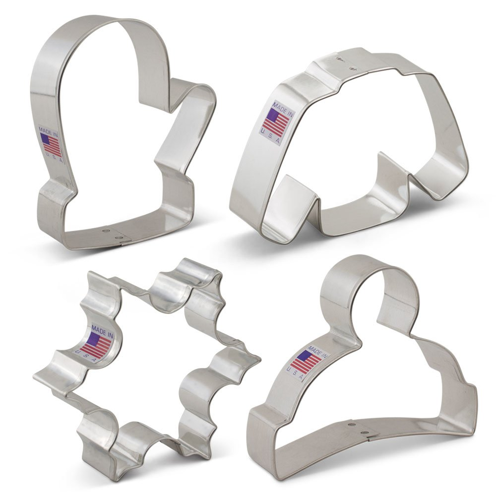 Winter / Christmas Cookie Cutter Set - 4 Piece - Snowflake, Sweater, Mitten and Winter Hat - Ann Clark Cookie Cutters - US Tin Plated Steel A6-131