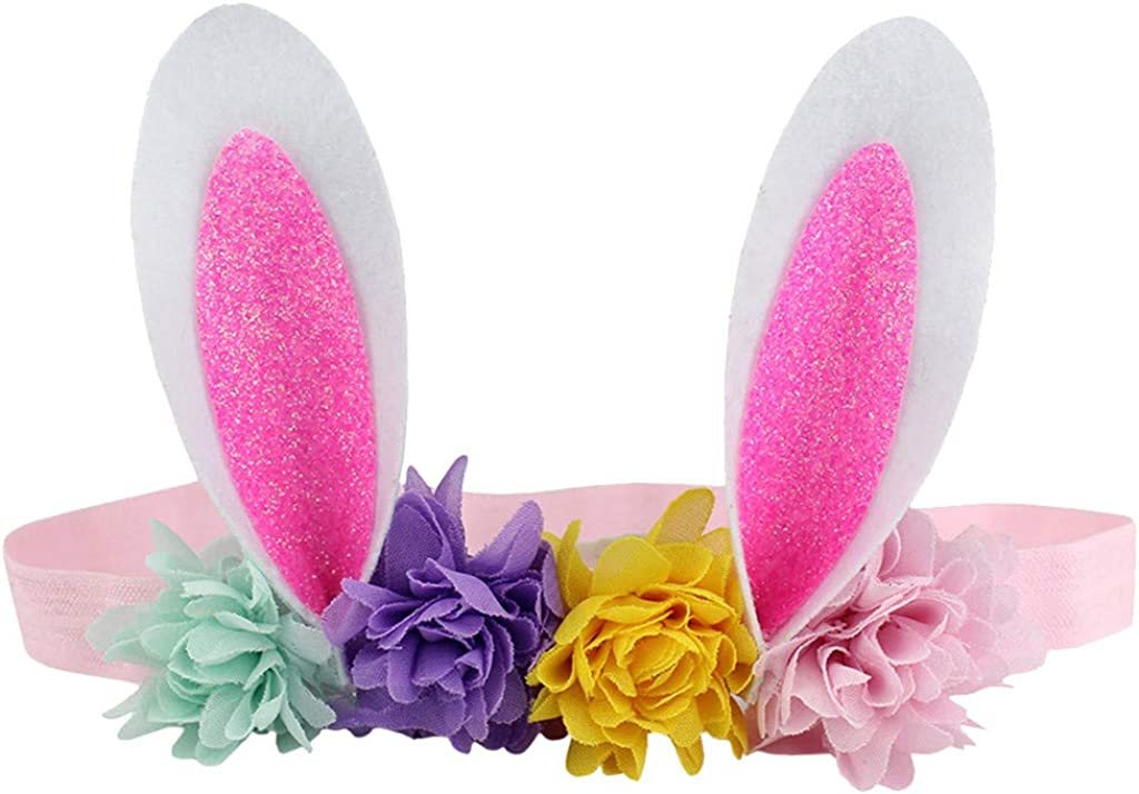 Willsa Easter Babies Headband Multicolor Cute Flower Rabbit Ears Hair Band Easter Sunday Gift