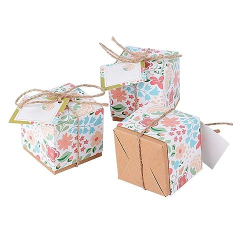 50pcs Cajas Cajitas Papel de Caramelos Bombones Dulces Galletas Regalos Recuerdos Detalles para Invitados de Boda Fiesta Bautizo con Cuerdas de Cáñamo ...