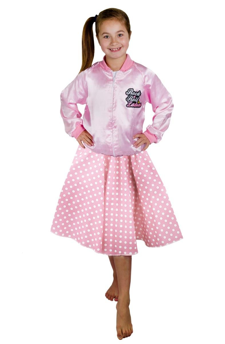 POLKA DOT SKIRT /& SCARF PINK WITH WHITE DOTS ROCK N ROLL FANCY DRESS COSTUME
