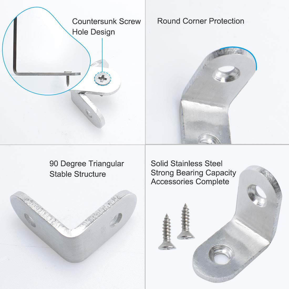 uxcell 4pcs Angle Bracket Stainless Steel 25x25mm Corner Brace Fastener L Shaped Right Angle Brackets Corner Protector Shelf Support with Screws for Furniture