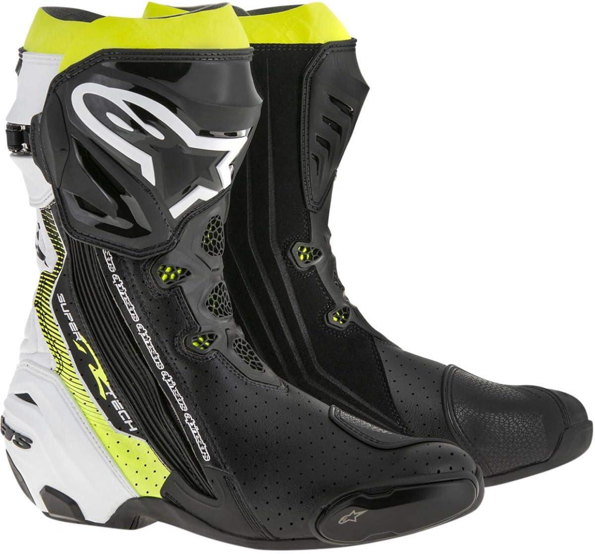 Alpinestars Supertech R Mens Motorcycle Road Racing Boots Black//White//Fluorescent Yellow, EU Size 48