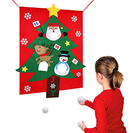 partytalk felt christmas tree snowball toss game for kids christmas games for adults and kids - Christmas Decoration Games