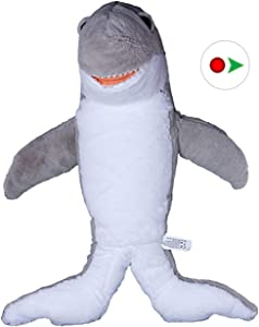 Stuffems Toy Shop Record Your Own Plush 16 inch Grey Shark - Ready to Love in A Few Easy Steps