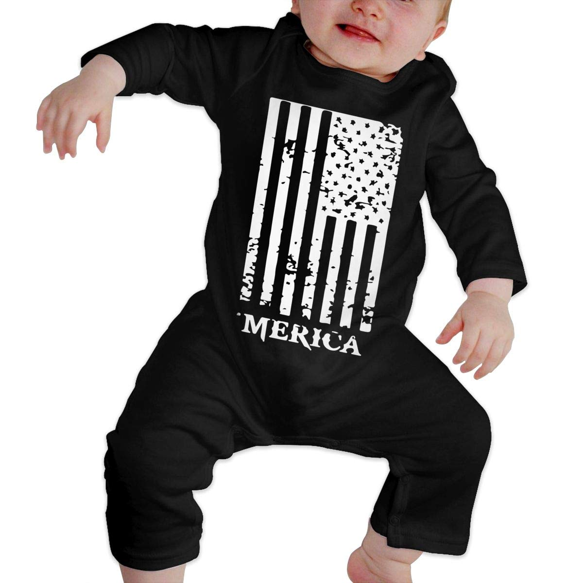 Fasenix America Flag Newborn Baby Boy Girl Romper Jumpsuit Long Sleeve Bodysuit Overalls Outfits Clothes