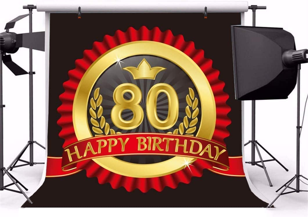 Happy 80th Birthday 8x8ft Polyester Photography Background Luxurious Red Wave Lace Round Golden Emblem Backdrop Old People Birthday Party Banner School Anniversary Studio Props