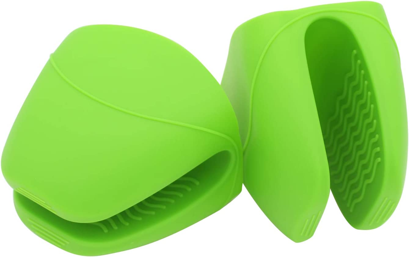 KUFUNG Silicone Cooking Pinch Grips Oven Mitts, Finger Protector Pot Holder for Kitchen,Cooking,Baking,BBQ - Heat Resistant Gloves (Large Size + Thicker, Green)