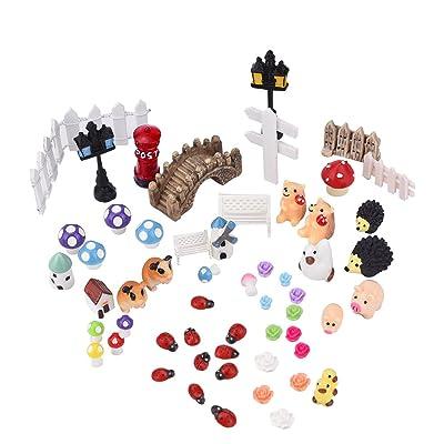 Paisaje Ornamento Decoración Adorno Miniatura Jardín de Hadas, 56 piezas: Juguetes y juegos