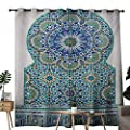 NUOMANAN Light Blocking Curtains Moroccan,Ceramic Tile Antique East Pattern Heritage Architecture Print,Blue Turquoise Pale Coffee,for Bedroom, Kitchen, Living Room
