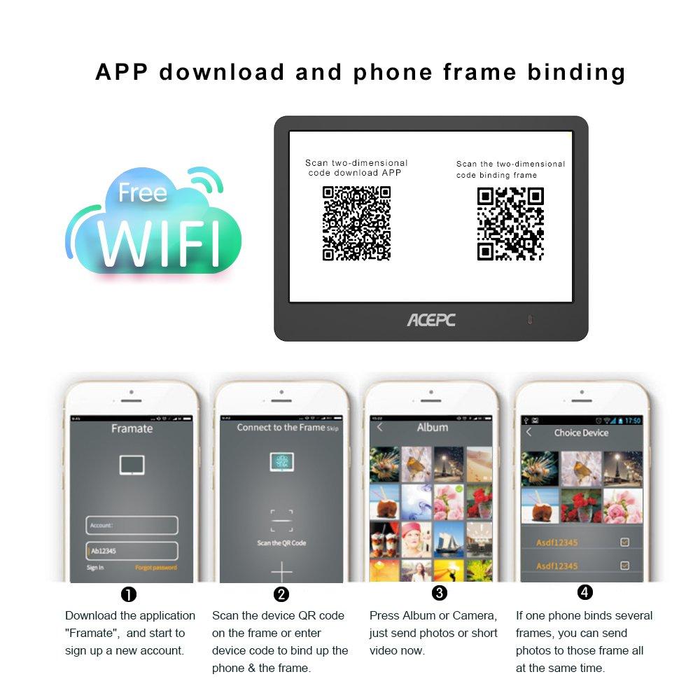 Buy Digital WiFi Photo Frame, ACEPC P1 8 inch Digital Touch-Screen ...