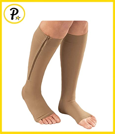 23ad7bbe2382ad Amazon.com: Presadee® Open Toe Medical Grade 20-30 mmHg Zipper Compression  Socks Circulation Swelling Veins Support FDA Cleared (XX-Large, Beige):  Sports & ...