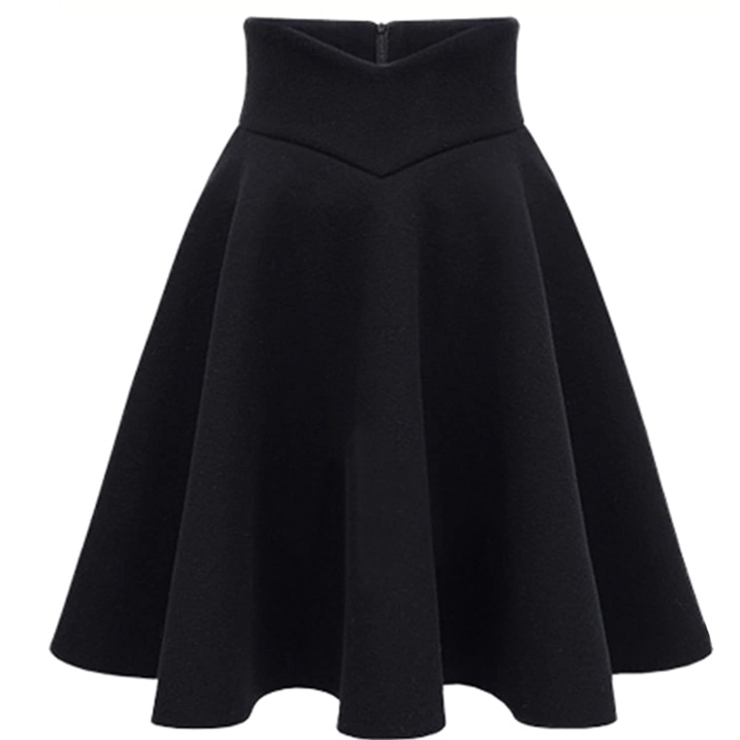 Cityelf Women's Winter Chunky High Waist Wool Stretch Slim Pleated Skirt