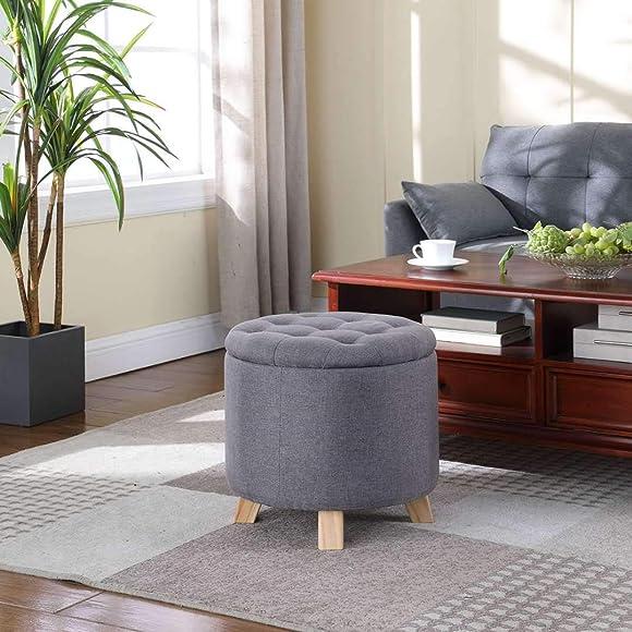 TMEE Modern Round Linen Gray Storage Ottoman Footrest Stool