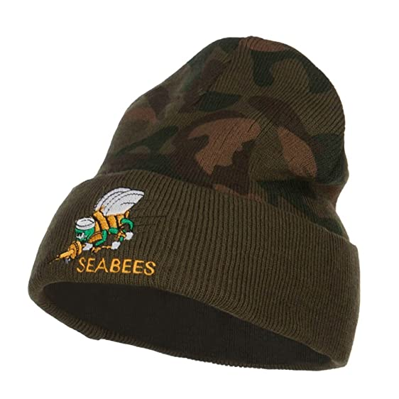 842a4f0b251 Amazon.com  Seabees Embroidered Camo Long Beanie - Green OSFM  Clothing