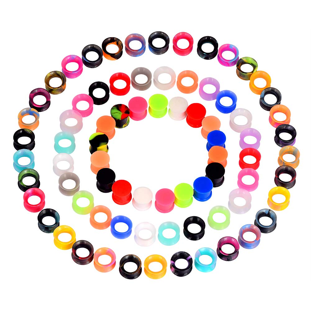 Oyaface 76pcs Silicone Ear Gauges Flesh Tunnels Plugs Stretchers Expander Ear Piercing Jewelry 2g-3/4 Mixed Color Set by Oyaface