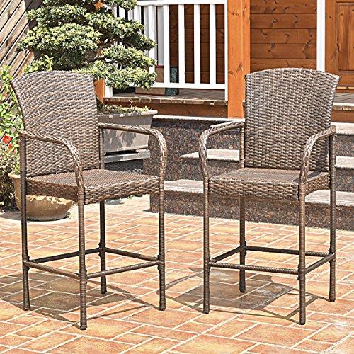Do It Yourself Outdoor Bar: Costway Rattan Wicker Bar Stool Outdoor Backyard Chair