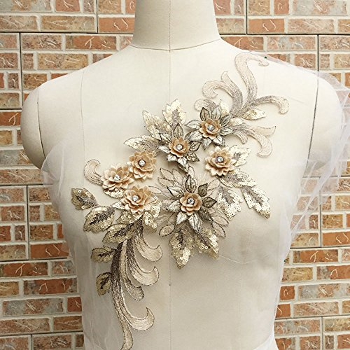 Elegant 3D floral applique,Beaded,Sequined,Flower Patches Lace Appliques Sewing on Costume Evening dress,15.7x 6.7 inch,Gold Color