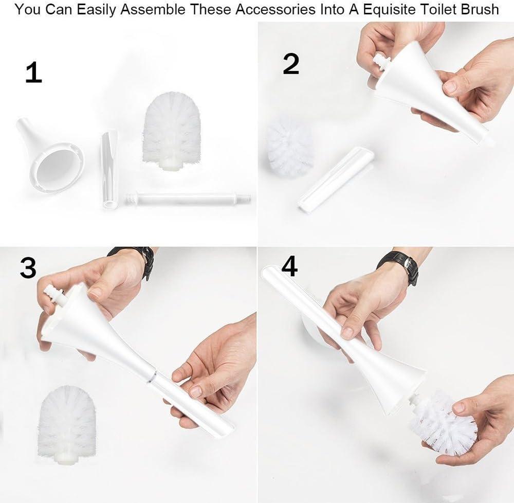 Brosse de toilette,HanDingSM Brosse de toilette blanche avec support en c/éramique,Bristled Brosse de nettoyage de toilette luxueuse d/étachable avec poign/ée longue