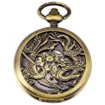 Carrie Hughes Men's Dragon Phoenix Engraving Steampunk Skeleton Mechanical Pocket Watch with Chain CH223 6