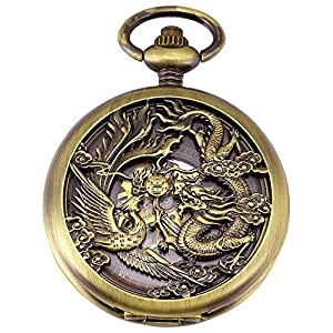 Carrie Hughes Men's Dragon Phoenix Engraving Steampunk Skeleton Mechanical Pocket Watch with Chain CH223