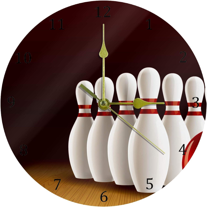 DEYYA Bowling Lane Realistic Round Acrylic Wall Clock Silent Non Ticking Art Decorative for Home Office School