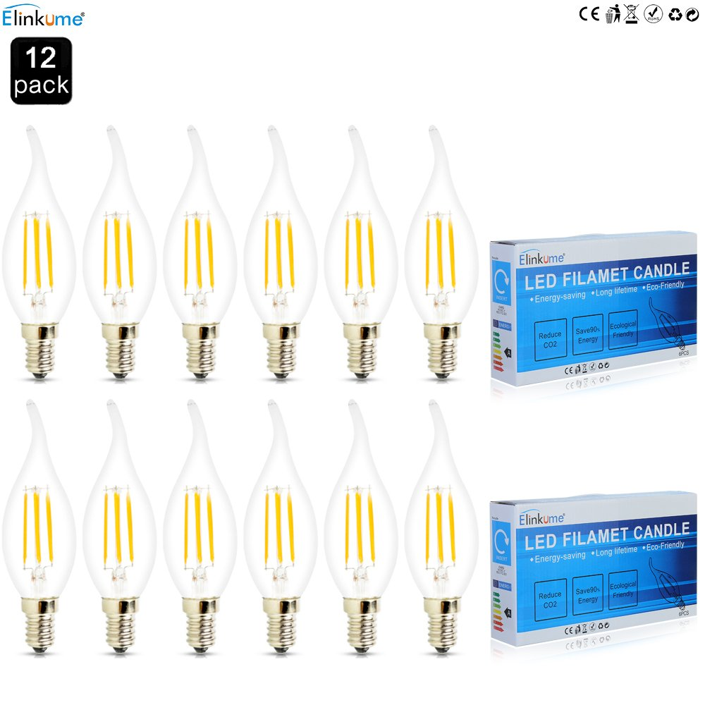 ELINKUME 12X E14 Bougie LED 4W Forme Bougie COB Ampoule Lampe Blanc Chaud 450LM Super Lumineux Flame Tip LED 220~240V