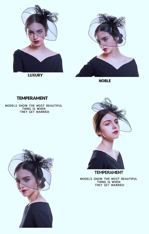 HappyShopDecoration Fascinator Hat for Women Retro Veils Bridal Hair Accessories Pearl Feather Hat