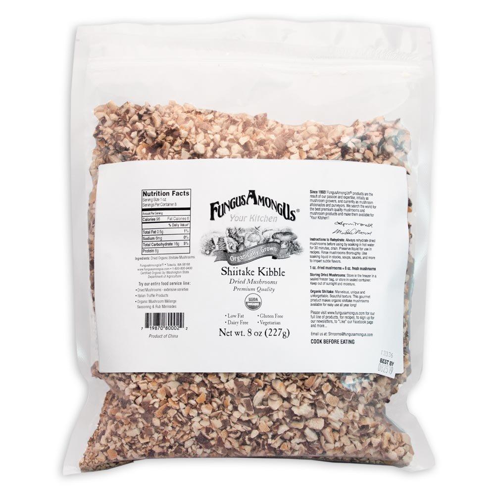 Bulk Dried Organic Shiitake Mushrooms Kibble - 8 oz - FungusAmongUs