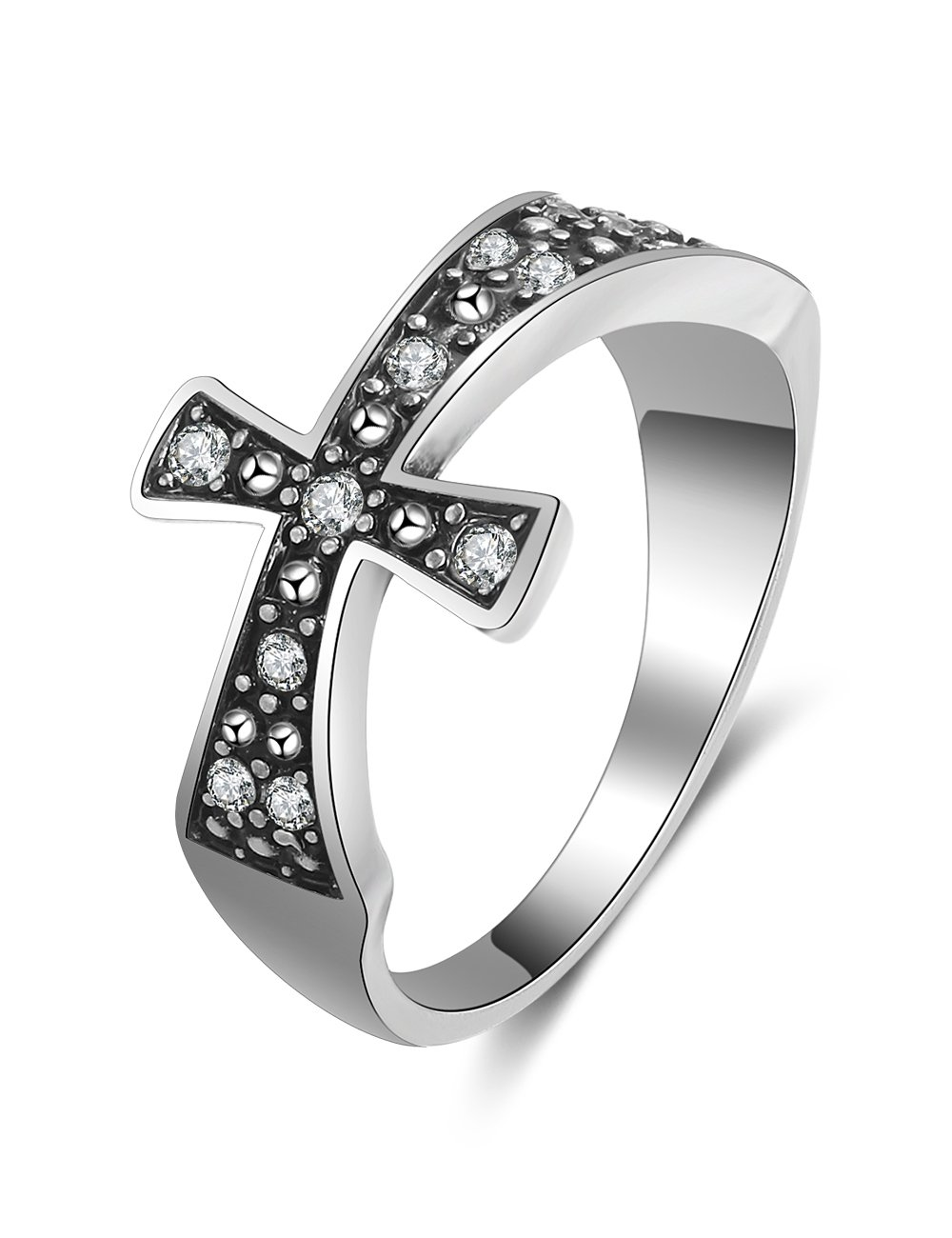 XZP Vintage Style Religion Christian Cross Band Ring Made Swarovski Crystal (8.5) by XZP