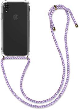 Carcasa de TPU con Colgante Sol hind/ú Rosa Claro//Blanco//Transparente kwmobile Funda con Cuerda Compatible con Apple iPhone XR