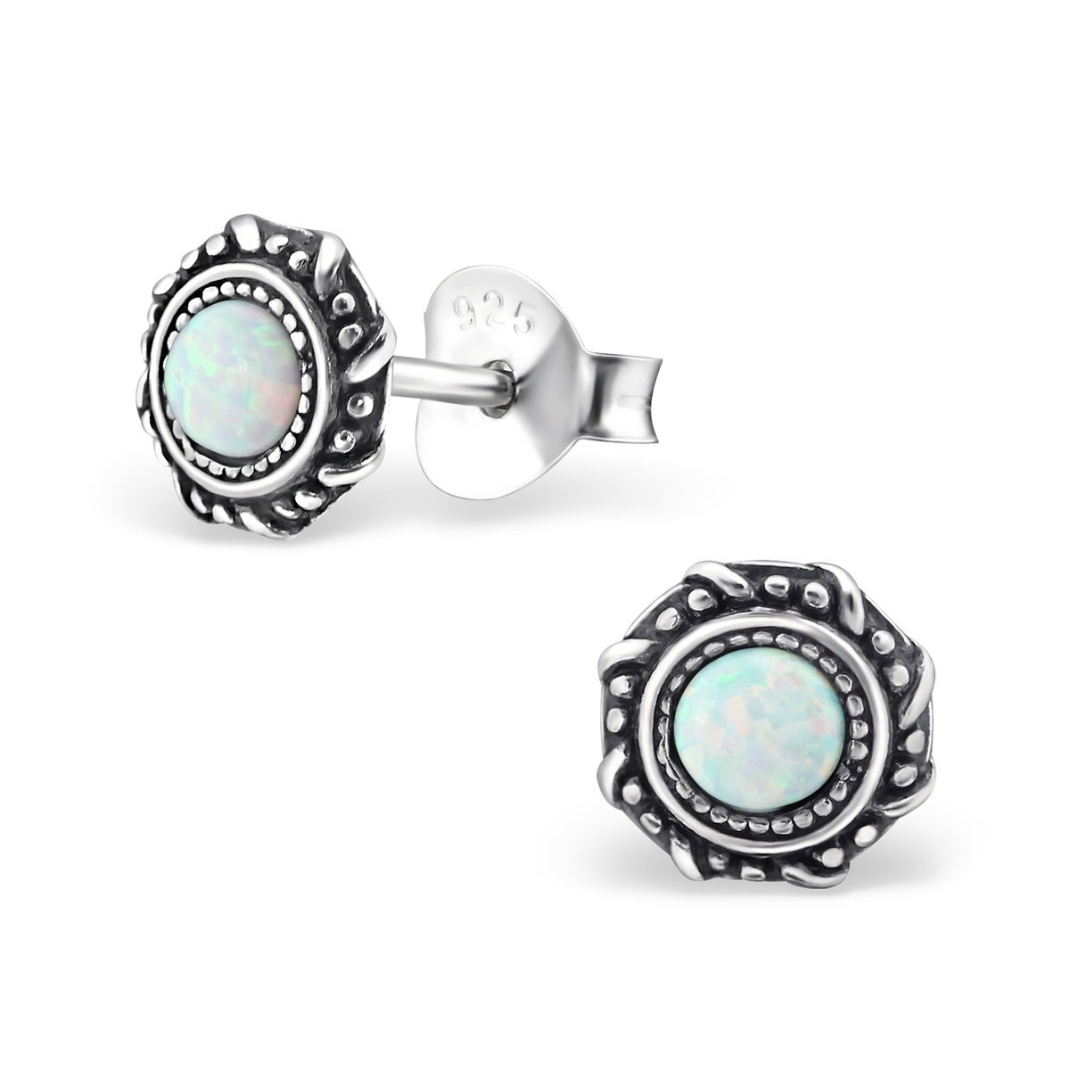 Small Round Blue Synthetic Opal Silver Earrings Vintage Antique Style Stering Silver 925 Post Studs (E23674) (Fire Snow)