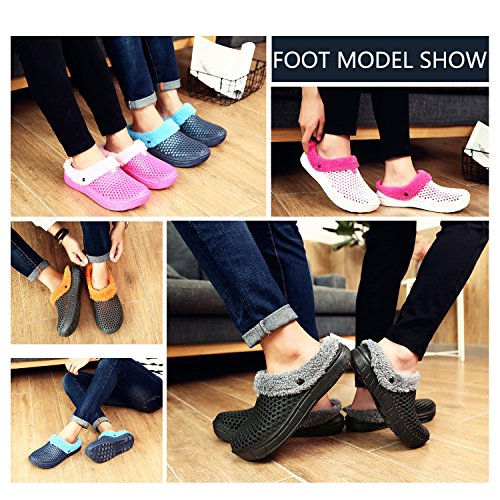 for Women Lined Indoor Non Slippers Men Clogs Winter House Grey Fur Shoes Warm Breathable Shoes Walking Slip Outdoor Black gBq6gFw4