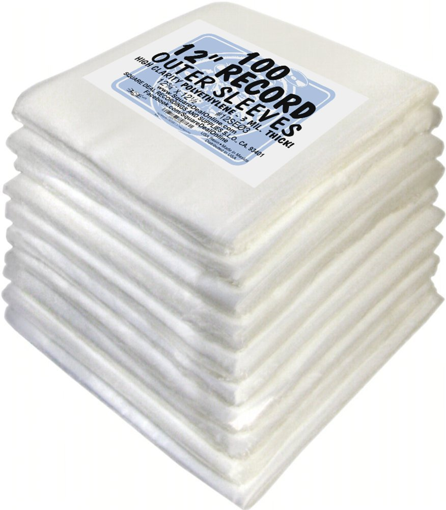 (1000) 12'' Record Outer Sleeves - INDUSTRY STANDARD 3mil Thick Polyethylene - 12 3/4'' x 12 1/2''