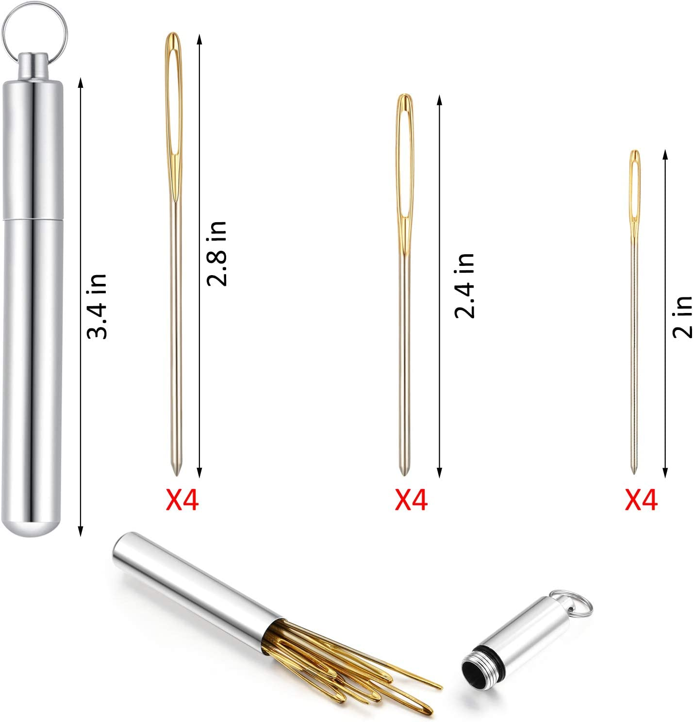 12 Pieces Large Eye Blunt Sewing Needles Tapestry Stainless Steel Yarn Knitting Needles Embroidery Hand Sewing Needles with Aluminum Needle Storage Tube