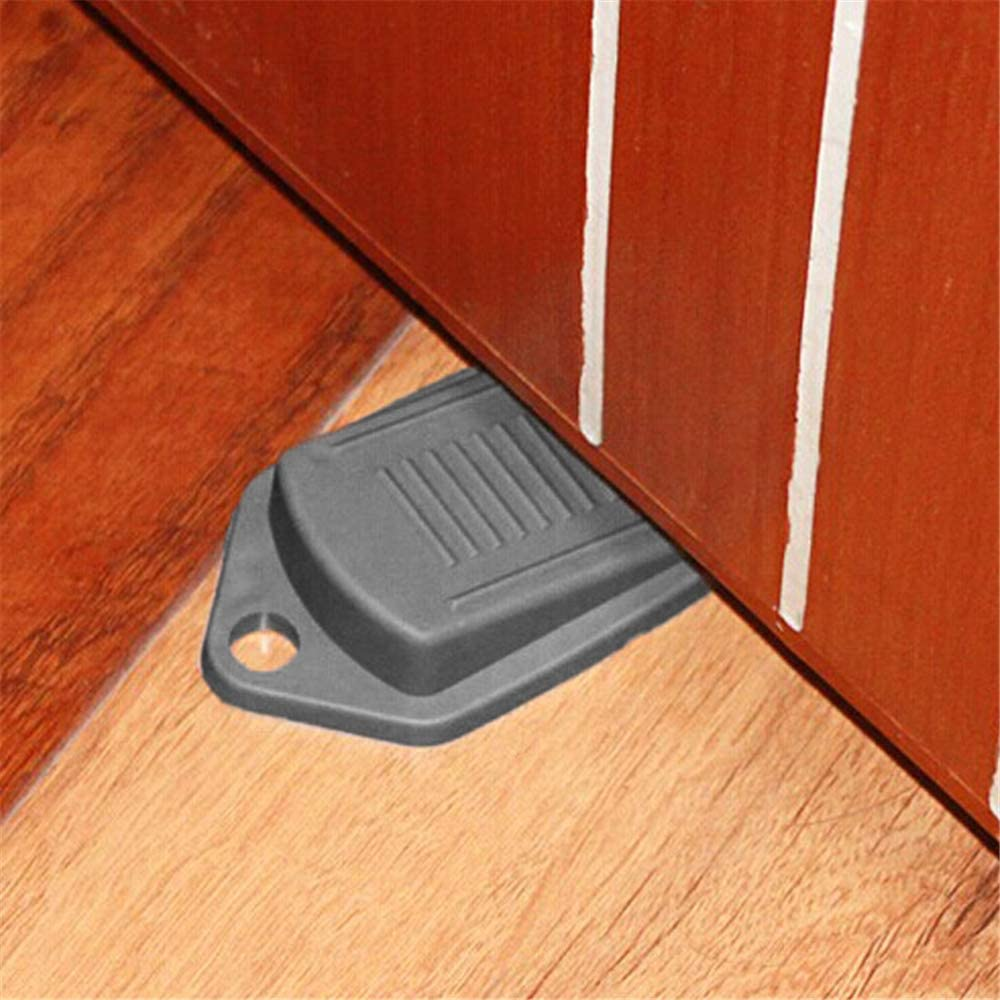 HuntGold Wedge Shaped Doorstops Rubber Door Stopper Baby Safe Protector Non-Slip for Home Drawer-Gray