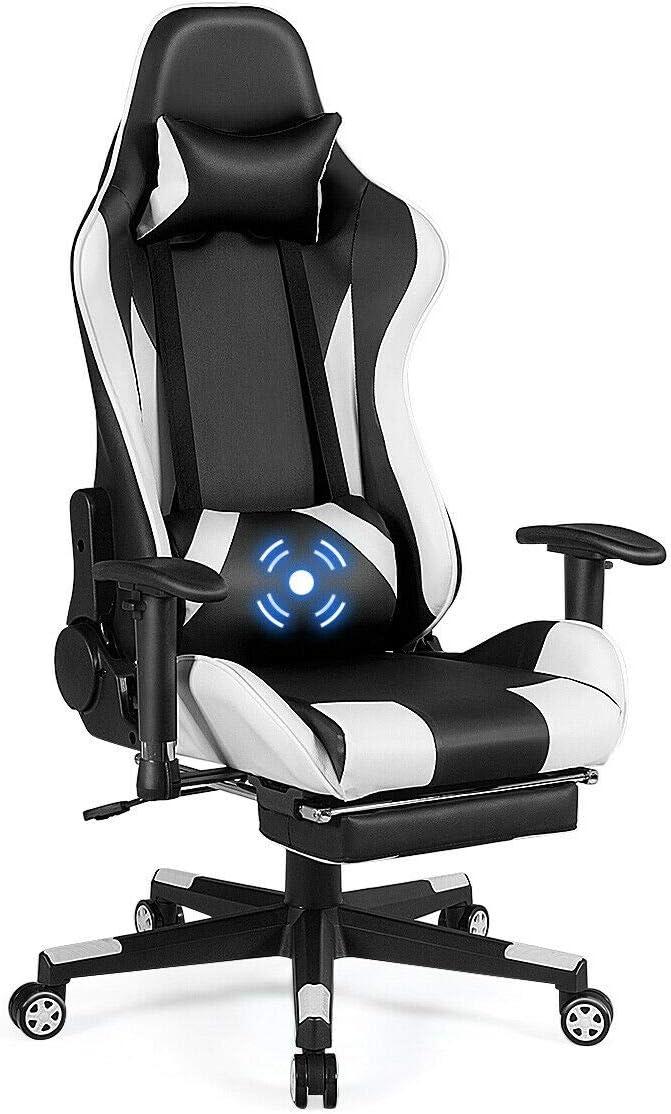 Giantex Massage Gaming Chair, High Back Ergonomic Adjustable Reclining Racing Chair with USB Massage Lumbar Pillow, Headrest, Footrest, Lumbar Support, PU Leather Gaming Desk Chair White Black