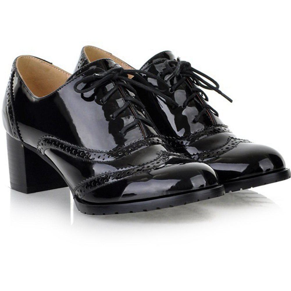 DecoStain Women's Fashion Patent Leather Lace-up Mid-Heel Comfortable Oxfords Shoes