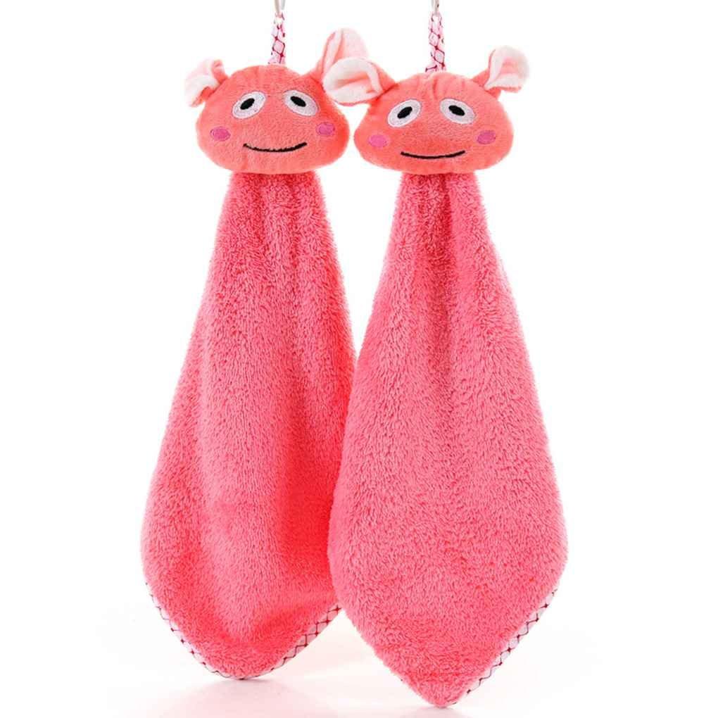 GOTTING Pequeños animales de cocina Wipe toalla que cuelga toallas de mano Pañuelo niños Cocina Baño de dibujos animados saliva Paños Paño de cocina Rosado: ...