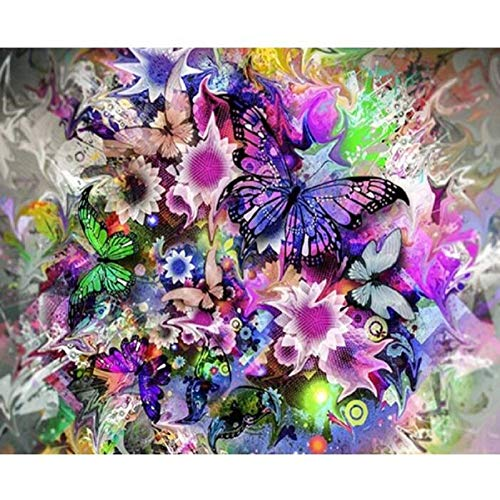 5D DIY Diamond Painting by Number Kits,Full Drill Crystal Rhinestone Diamond Embroidery Paintings Arts Decor Multicolored Butterfly 15.7x11.8in 1 Pack by Lighting S Direct