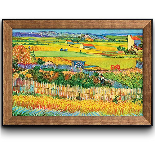 Vincent Harvest Gogh Van (Wall26 - Harvest at La Crau by Vincent Van Gogh - Oil Painting, Impressionist, Artist - Framed Art Prints, Home Decor - 24x36 inches)
