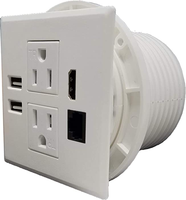 Power Grommet W/ 2 USB Charging Ports, Desktop Outlet W/ 2 AC Outlets, 1 HDMI, 1 Data CAT 6, Power Socket W 6 ft Heavy Duty Extension Cord (White - 3.15