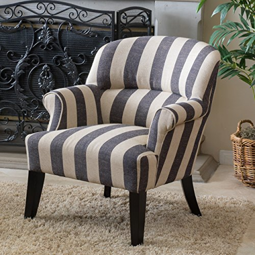 Great Deal Furniture Drew | Striped Fabric Club Chair | in Beige and Slate Grey Stripe