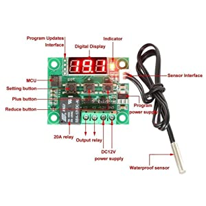 HiLetgo 2pcs W1209 12V DC Digital Temperature Controller Board Micro Digital Thermostat -50-110°C Electronic Temperature Temp Control Module Switch with 10A One-channel Relay and Waterproof (Color: Blue, Tamaño: Small)