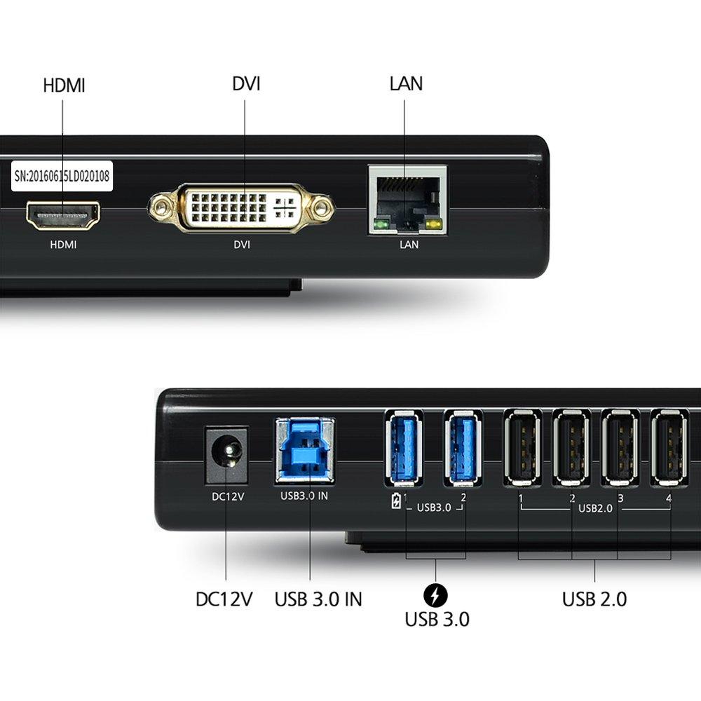 6/porte USB per laptop Gigabit Ethernet Wavlink USB 3.0/universale docking station multifunzione con Dual Video Display OUTPUTS HDMI//DVI//VGA//Fino a 2048/x 1152 Audio Output//Input Ultrabook e PCS